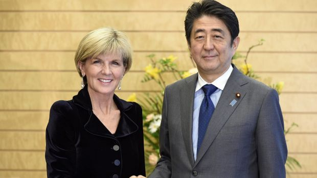 Australian Foreign Minister Julie Bishop received met Japanese Prime Minister Shinzo Abe in Tokyo on Tuesday where they ...