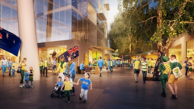 Happy crowds in another artist's impression of the proposed Manuka Oval redevelopment.