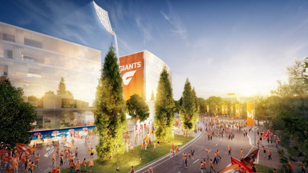 An artist's impression of the GWS Giants' proposed Manuka Oval redevelopment.