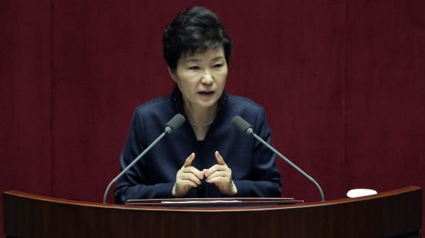 Park Geun-Hye speaks at the National Assembly on February 16 in Seoul.