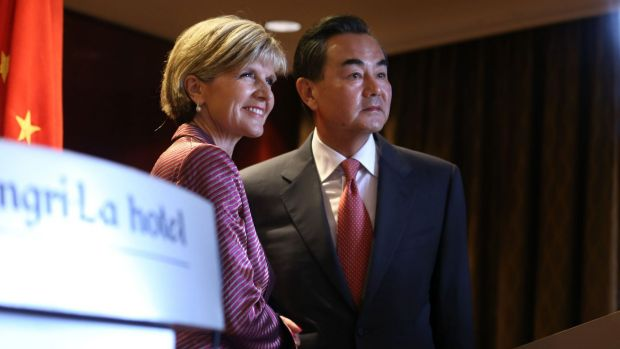Australian Minister for Foreign Affairs Julie Bishop gave her Chinese counterpart Minister Wang Yi a much warmer ...