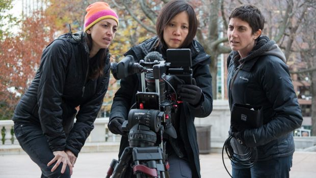 Making <i>Making a Murderer</i>: creators Laura Ricciardi (left) and Moira Demos (right) with cinematographer Iris Ng.