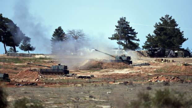 Turkish artillery fire from the border near the town of Kilis towards northern Syria in February.