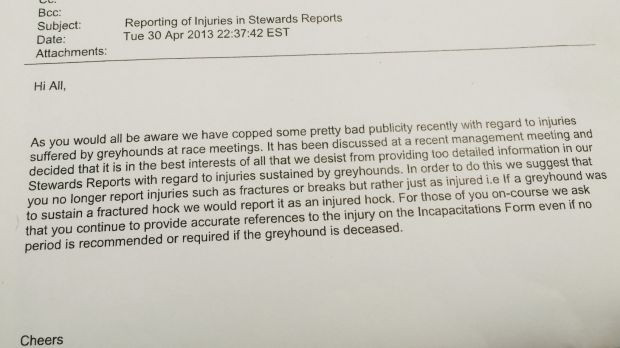 The email sent to greyhound racing stewards.