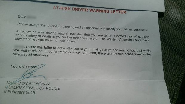 One of two letters WA Police have sent out to WA's worst drivers.