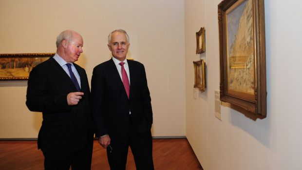 Prime Minister Malcolm Turnbull at the National Gallery of Australia in Canberra for the opening of the Tom Roberts ...
