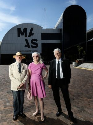 Clive Lucas, Penelope Seidler and Nick Pappas outside the Powerhouse Museum.They are against the relocation of the ...