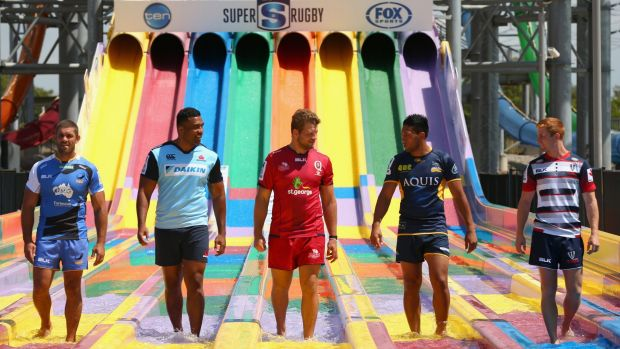 Players from Australia's Super Rugby franchises gathered at Wet'n'Wild on Wednesday for the season launch.