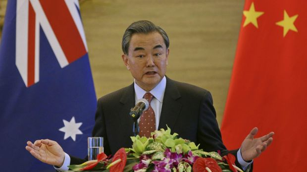 Chinese Foreign Minister Wang Yi at his joint press conference with Julie Bishop.