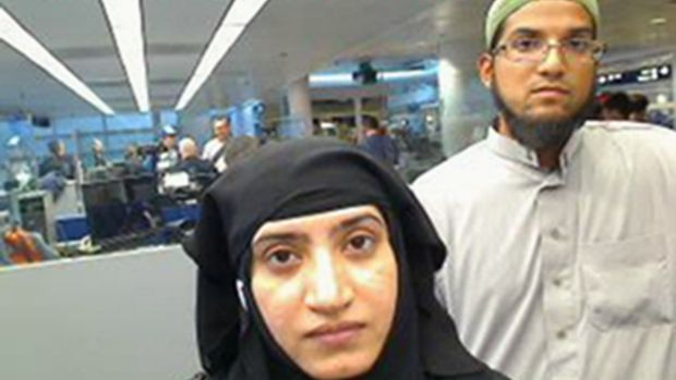 Syed Rizwan Farook and his wife Tashfeen Malik pass through O'Hare International Airport in Chicago in July 2014.