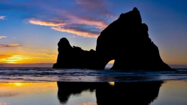 The Archway Islands off Wharariki Beach, where two people became stranded on Wednesday evening.