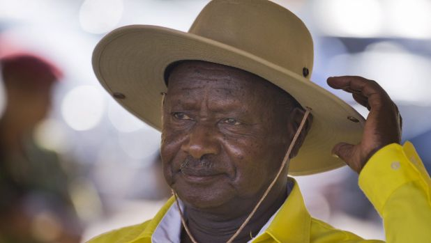 Uganda's long-time President Yoweri Museveni campaigning in Kampala on Tuesday.
