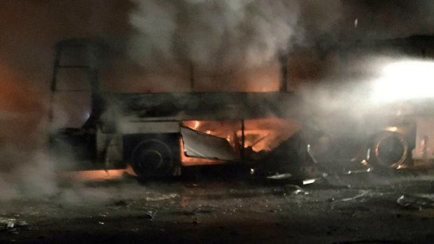 A burning bus seen after the explosion in Ankara on Wednesday.