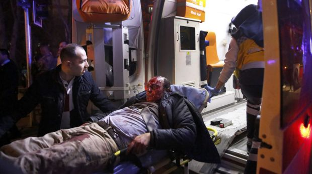 Paramedics carry a wounded man from the site of an explosion in Ankara on  Wednesday.
