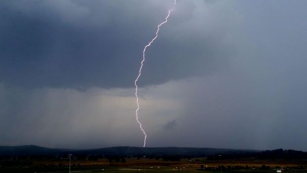 Lightning strikes during a February storm in Canberra.