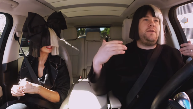 James Corden tried on a Sia-esque wig for the segment