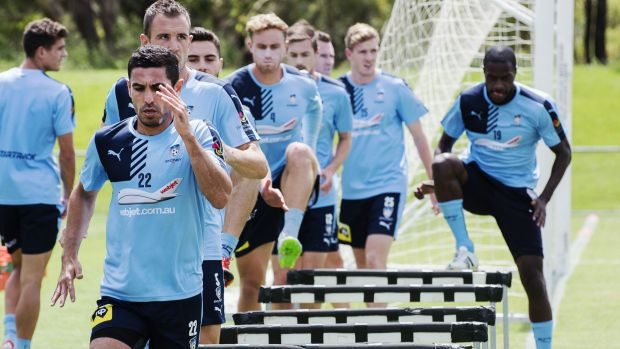 In a rut: Sydney FC players train at Macquarie University.