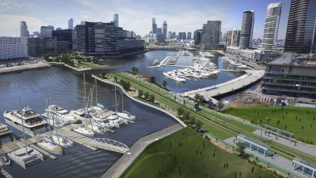 An artist's image of tram bridge over the Yarra River at Docklands.