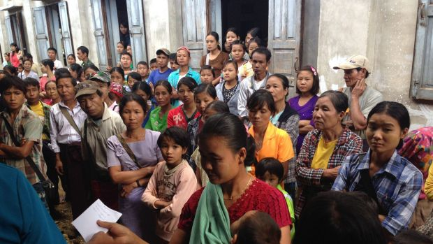 Myanmar Australia Conolly Foundation. November 2015. Queue outside the MACF temporary clinic in the hill village of Leik ...