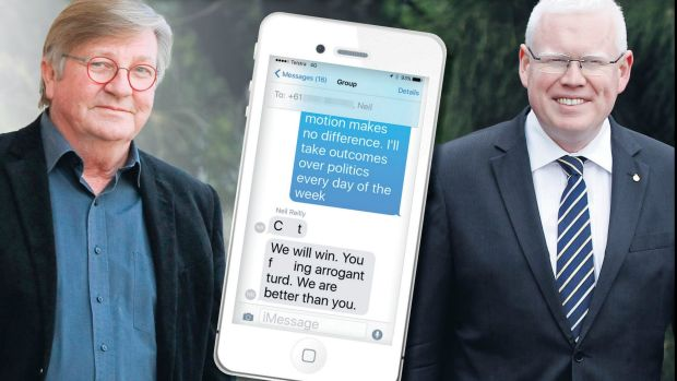 Kiama councillor Neil Reilly, left, fired off the angry texts to MP Gareth Ward after the council merger debate in State ...