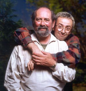 Andrew Denton with his father Kit, who died slowly and painfully in 1997.
