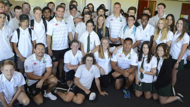 Jack Wighton, pictured with Canobolas Rural Technology High School students and fellow Raiders (from left) Zac Santo, ...
