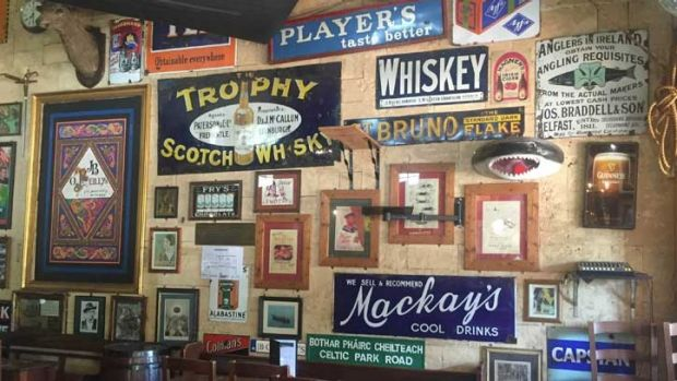Some of the vintage tobacco signs hanging up in J.B. O'Reilly's