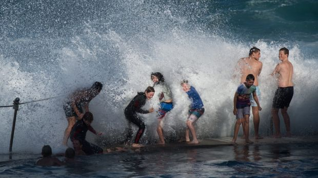 Large swells are pounding Australia's east coast, including the Bronte Beach ocean pool in Sydney.