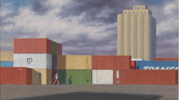 Jeffrey Smart's Second Study for Containers with Storm Clouds, 1990.
