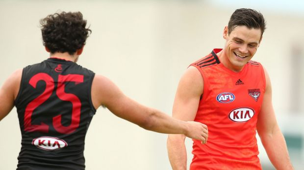 New Bomber Nathan Grima (right) is happy to be playing again.