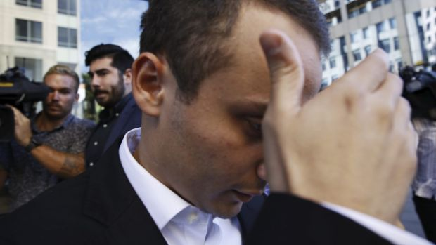 Facing a retrial: Luke Lazarus leaves court in March last year.