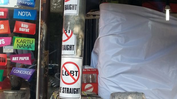Anti-LGBT pamphlets on street poles in Depok, West Java.