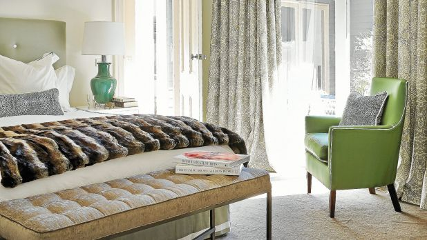 Diane Bergeron creates a refuge by choosing cool jade as the accent colour teamed with a fur throw and handy buttoned bench.