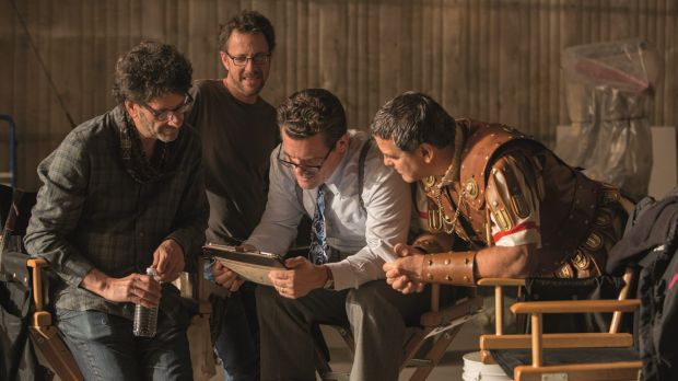 Joel and Ethan Coen on the set of <i>Hail, Caesar!</i> with Josh Brolin and George Clooney.