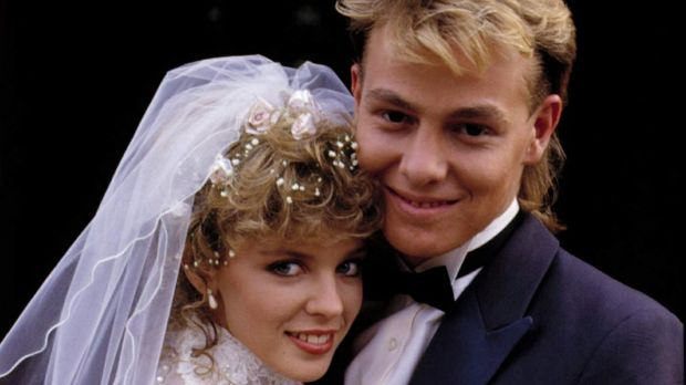 The iconic 1987 wedding of Scott (Jason Donovan) and Charlene (Kylie Minogue).