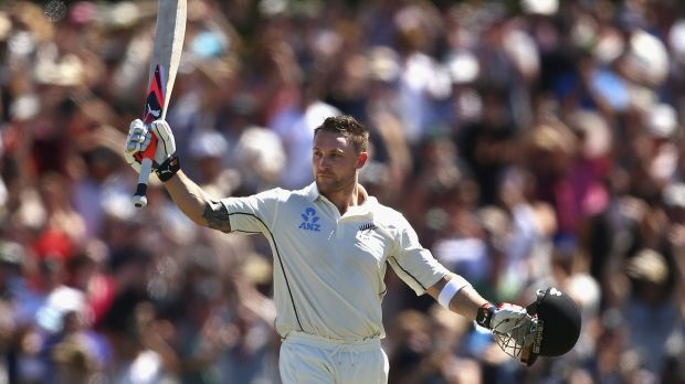 Brendon McCullum celebrates after reaching his century.