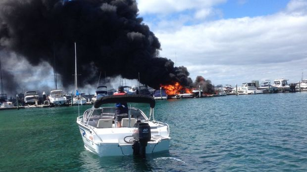 Fire at Blairgowrie Harbour.