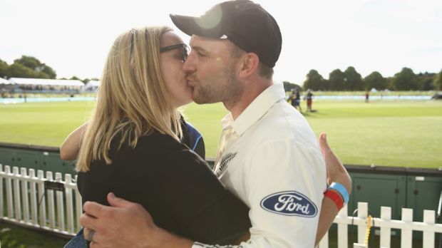 McCullum is congratulated by his wife, Ellissa.
