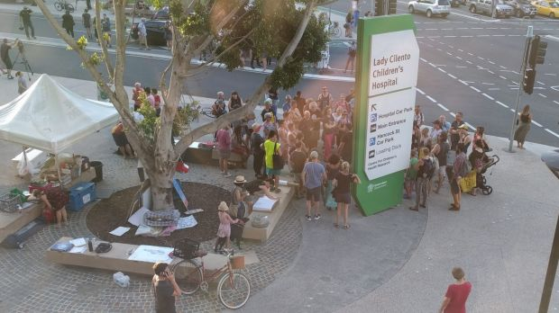 Supporters gather outside the Lady Cilento Children's Hospital as fears grow that asylum seeker baby Asha will soon be ...