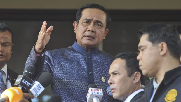 Thailand's Prime Minister Prayuth Chan-ocha speaks to reporters in Bangkok, Tuesday, Aug. 18, 2015.