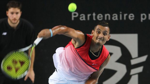 Winnng form: Nick Kyrgios serves to Tomas Berdych during their semi-final at Marseille.