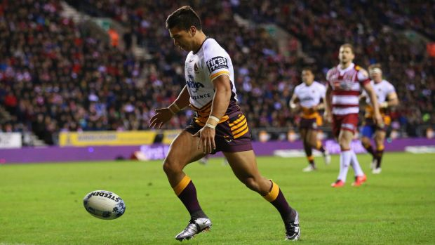 Impressive: Kodi Nikorima chases a loose ball to score a try during the World Club Series match between Wigan Warriors ...