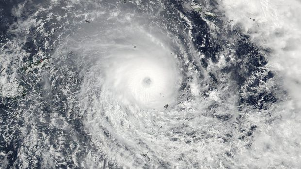 A satellite image released by NASA shows Cyclone Winston.