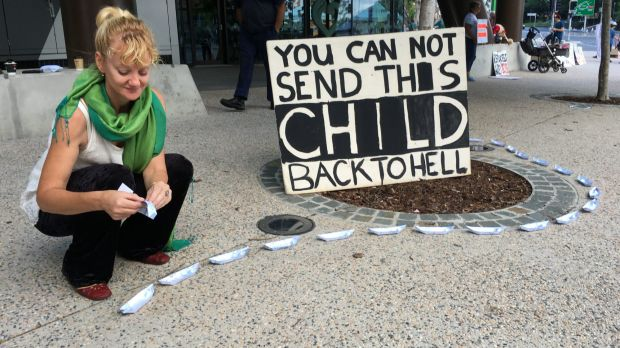Scotia Monkivitch was one of about 50 protesters still at the vigil for baby Asha at Brisbane's Lady Cilento Hospital on ...
