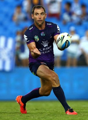 Evergreen: Cameron Smith passes during the NRL trial between the Canterbury Bulldogs and the Melbourne Storm at Belmore ...