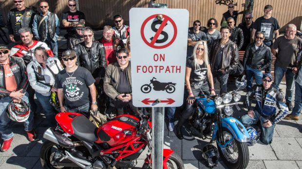 Motorcyclists protest over a City of Port Phillip footpath parking ban outside the Vineyard bar in Acland Street, St Kilda.