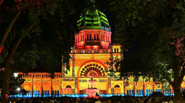 The work of Ballarat art collective The Pitcha Makin Fellas was projected on to the Royal Exhibition Building during ...