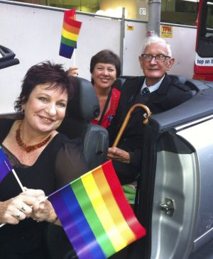 (From left) Melissa Gibson with 78ers Julie McCrossin and Ron Austin at the Sydney Mardi Gras in 2013.