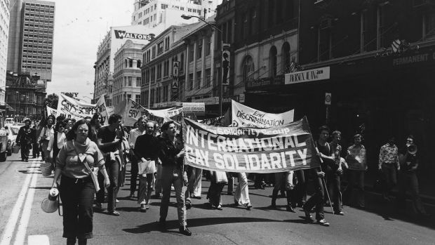Homosexuals demonstrate in the morning march in Sydney before a street parade that would eventually evolve into the ...
