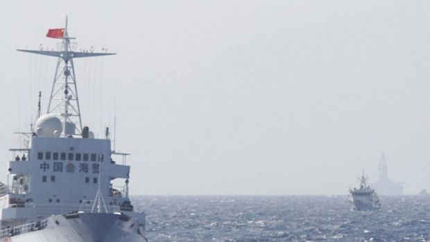 Ships of the Chinese Coast Guard on patrol in the South China Sea.